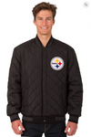 Pittsburgh Steelers Charcoal Reversible Varsity Jacket with Back Logo