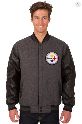 Pittsburgh Steelers Charcoal Reversible Wool & Leather Varsity Jacket