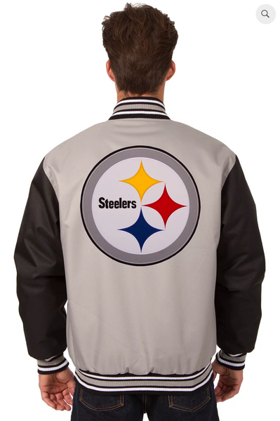 Pittsburgh Steelers Poly-Twill Varsity with Front & Back Logo