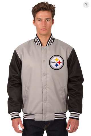 Pittsburgh Steelers Poly-Twill Varsity Jacket with Front Logo
