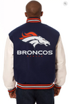 Denver Broncos Wool and Leather Varsity Jacket