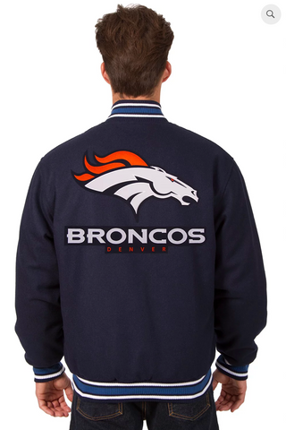 Denver Broncos Reversible Wool Varsity Jacket With Back Logo