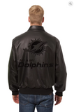 Miami Dolphins Hand Crafted Leather Tonal Jacket