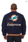 Miami Dolphins All Wool Varsity Jacket with Back Logo