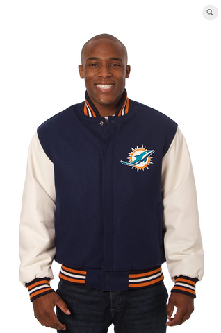 Miami Dolphins Wool and Leather Varsity Jacket