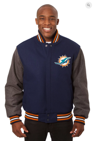 Miami Dolphins All Wool Two-Toned Jacket with Back Logo