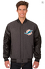 Miami Dolphins Reversible Wool & Leather Varsity Jacket