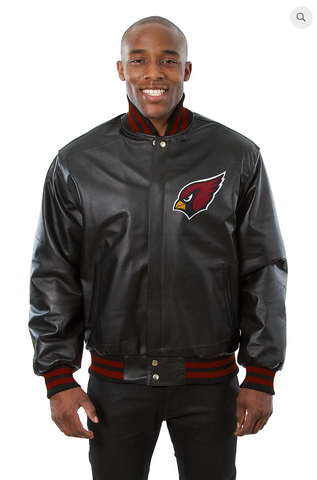 Arizona Cardinals Hand Crafted Leather Solid Team Jacket