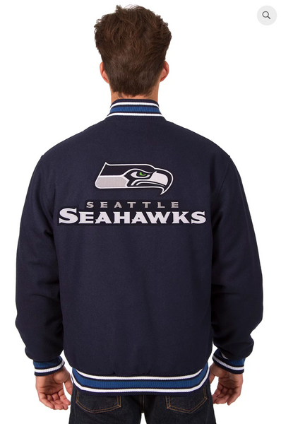 Seattle Seahawks Reversible Wool Varsity Jacket With Back Logo