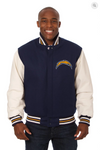 Los Angeles Chargers Wool & Leather Varsity Jacket w/ Back Logo