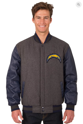 Los Angeles Chargers Reversible Wool & Leather Varsity Jacket