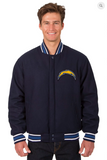 Los Angeles Chargers All Wool Reversible Varsity Jacket With Back Logo