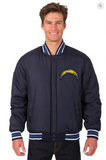 Los Angeles Chargers All Wool Reversible Varsity Jacket Front Logo