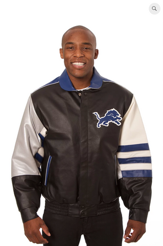 Detroit Lions Hand Crafted Leather Classic Team Jacket