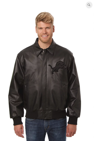 Detroit Lions Hand Crafted Leather Tonal Jacket