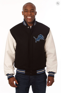 Detroit Lions Wool and Leather Varsity Jacket
