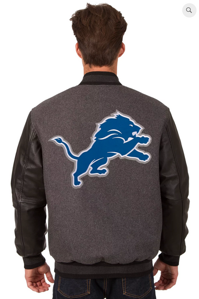 Detroit Lions Reversible Wool and Leather Varsity Jacket with Back Logo