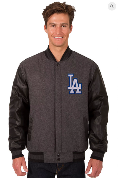 Los Angeles Dodgers Reversible Wool and Leather Varsity Jacket with Back Logo