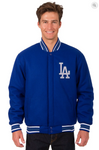 Los Angeles Dodgers Reversible Wool Varsity Jacket with Back Logo