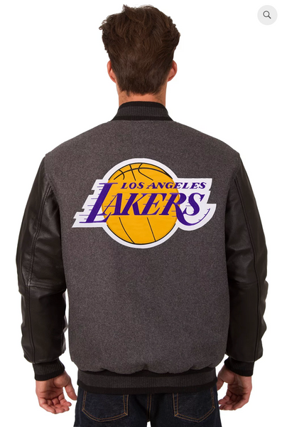 Los Angeles Lakers Reversible Wool and Leather Varsity Jacket with Back Logo
