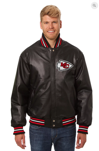Kansas City Chiefs Hand Crafted Leather Solid Team Jacket