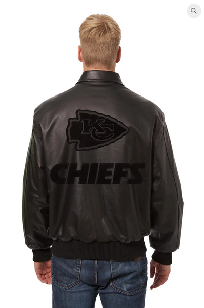 Kansas City Chiefs Hand Crafted Leather Tonal Jacket