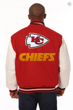 Kansas City Chiefs Wool & Leather Varsity Jacket w/ Back Logo
