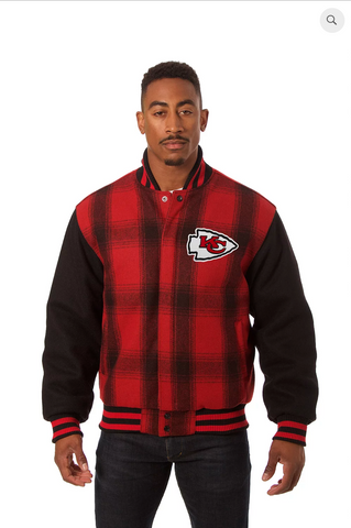 Kansas City Chiefs All Wool Plaid Jacket with Back Logo