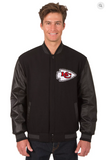 Kansas City Chiefs Reversible Wool & Leather Varsity Jacket