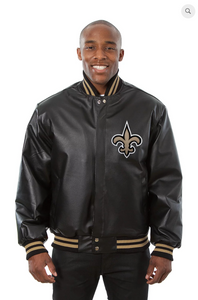 New Orleans Saints Hand Crafted Leather Solid Team Jacket