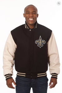 New Orleans Saints Wool and Leather Varsity Jacket