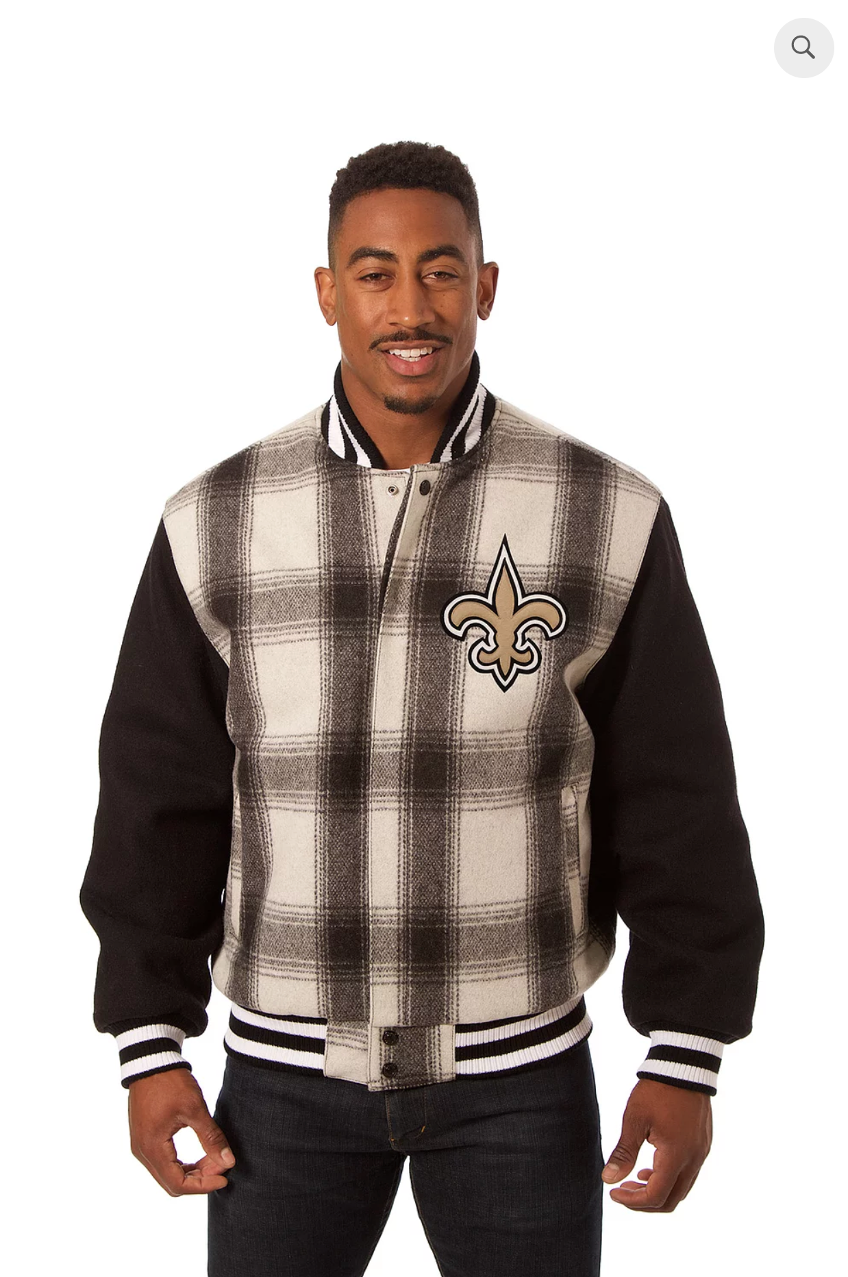 New Orleans Saints All Wool Plaid Jacket with Back Logo