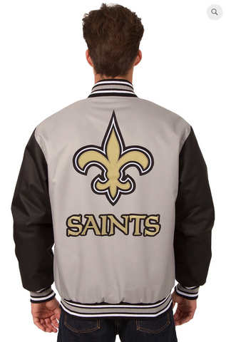 New Orleans Saints Poly-Twill Varsity with Front & Back Logo