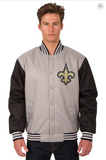 New Orleans Saints Poly-Twill Varsity Jacket with Front Logo