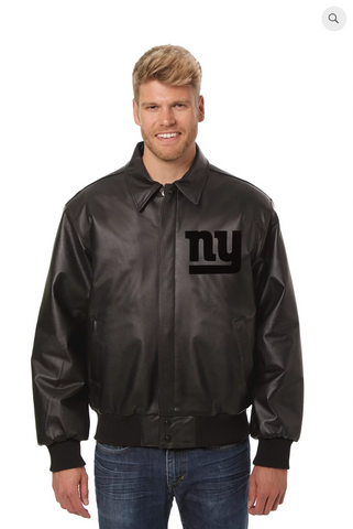 New York Giants Hand Crafted Leather Tonal Jacket