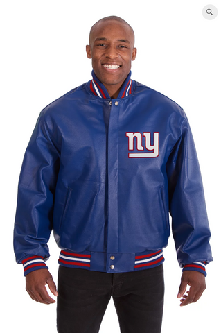 New York Giants Hand Crafted Leather Solid Team Varsity Jacket