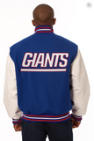 New York Giants Wool and Leather Varsity Jacket with Back Logo