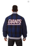 New York Giants All Wool Plaid Varsity Jacket with Back Logo