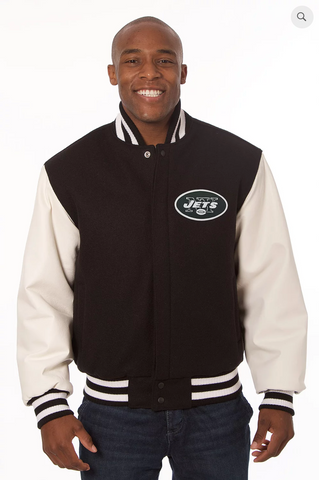 New York Jets Wool and Leather Varsity Jacket with Back Logo