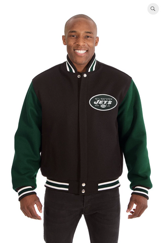 New York Jets All Wool Two-Toned Jacket with Back Logo