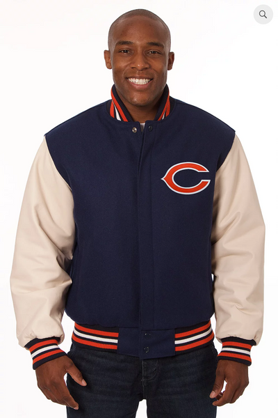 Chicago Bears Wool and Leather Varsity Jacket with Back Logo
