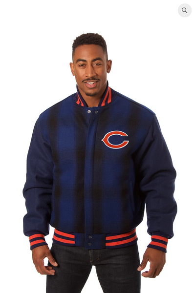 Chicago Bears All Wool Plaid Jacket with Back Logo
