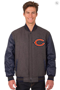 Chicago Bears Reversible Wool & Leather Varsity Jacket