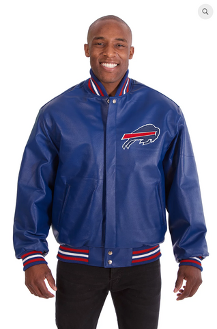 Buffalo Bills Hand Crafted Leather Solid Team Jacket