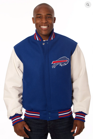 Buffalo Bills Wool and Leather Varsity Jacket with Back Logo