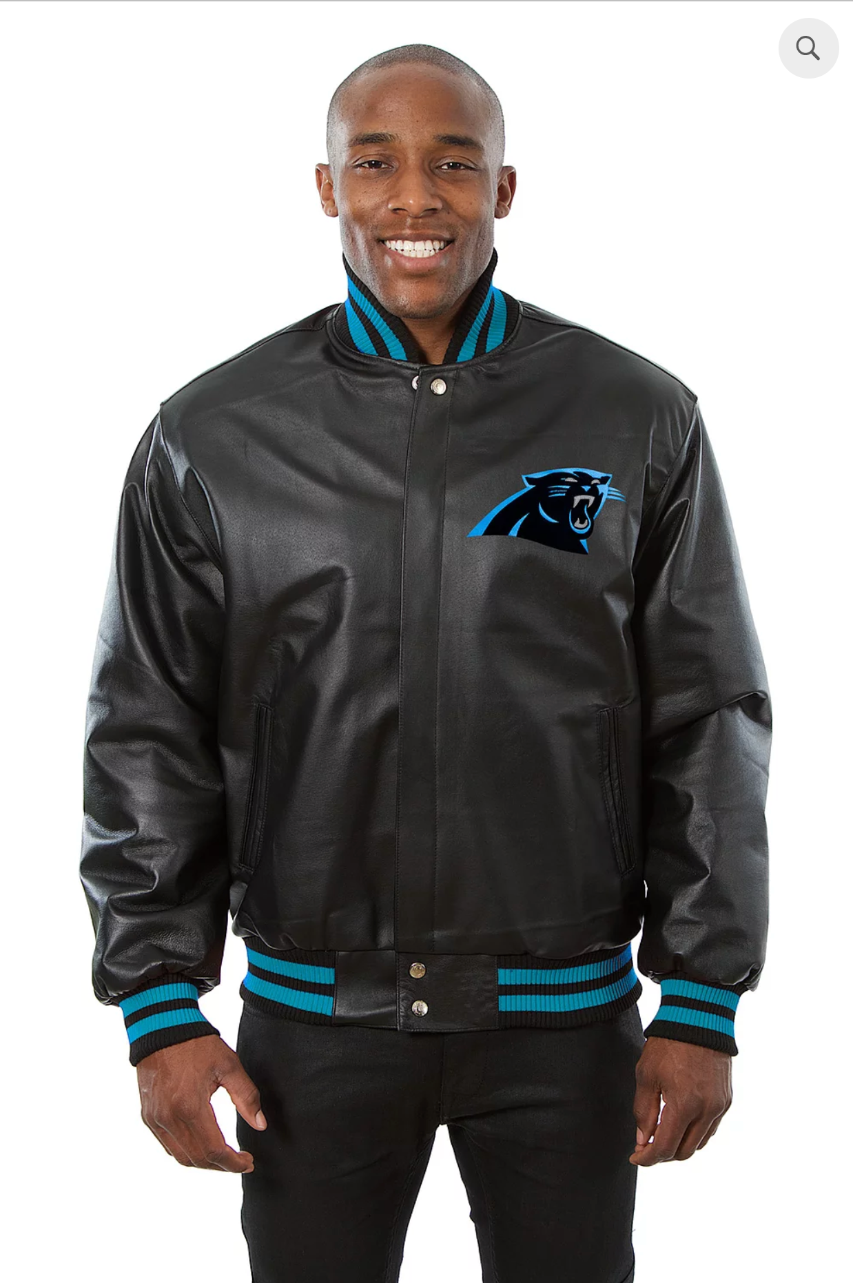 Carolina Panthers Hand Crafted Leather Solid Team Jacket