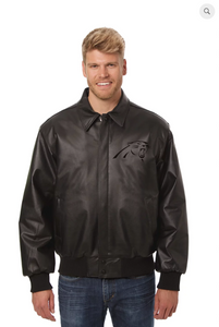 Carolina Panthers Hand Crafted Leather Tonal Jacket