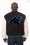 Carolina Panthers Wool & Leather Varsity Jacket with Back Logo