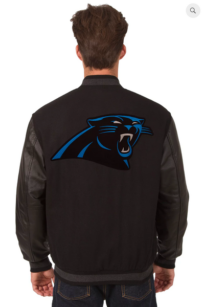 Carolina Panthers Reversible Wool and Leather Varsity Jacket with Back Logo