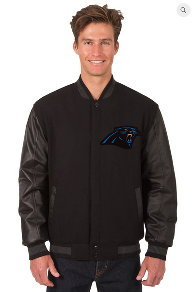 Carolina Panthers Reversible Wool & Leather Varsity Jacket